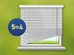 Каждая 5-я конструкция жалюзи или рулонных штор – в подарок!